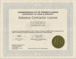 View our Asbestos Contractors License