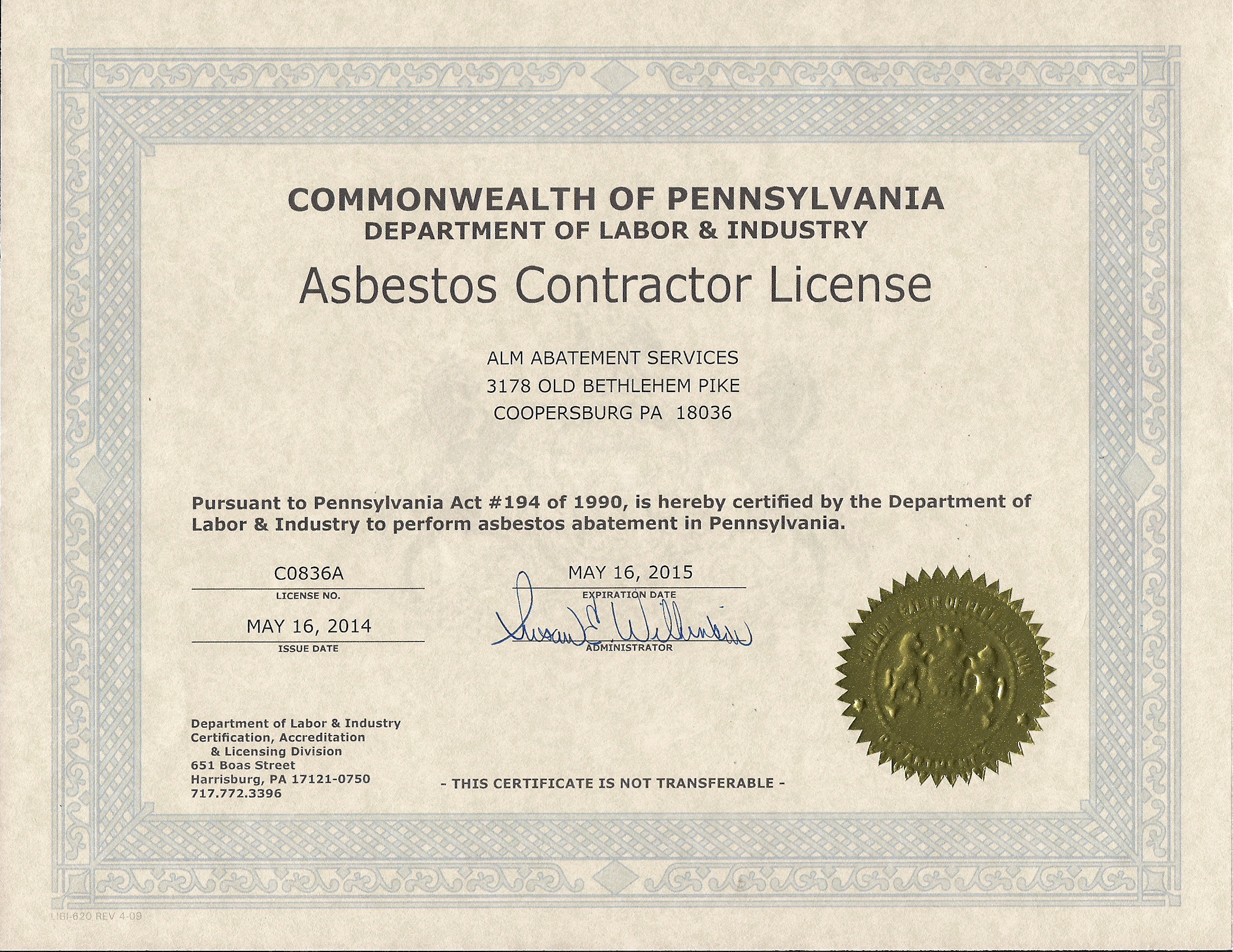 About alm abatement services llc view our asbestos contractors license 1betcityfo Gallery